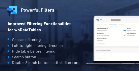 Powerful Filters for wpDataTables - Cascade Filter for WordPress Tables