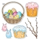 Comic Style Colorful Icons Easter Set - GraphicRiver Item for Sale