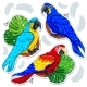 Bright Colored Parrots and Palm Leaves - GraphicRiver Item for Sale