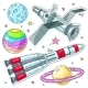 Vector Illustration Comic Style Space Icons - GraphicRiver Item for Sale