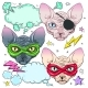 Comic Style Colorful Icons of Cats - GraphicRiver Item for Sale
