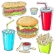 Comic Style Icons of Fast Food - GraphicRiver Item for Sale