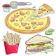 Comic Style Colorful Icons of Fast Food - GraphicRiver Item for Sale