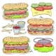Vector Sticker Icons of Hot Dogs - GraphicRiver Item for Sale