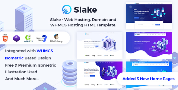 Slake - Web Hosting, Domain and WHMCS Hosting HTML Template