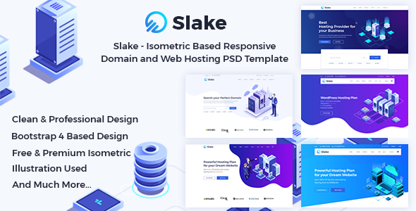 Slake - Isometric Based Responsive Domain and Web Hosting PSD Template