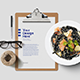 Clipboard with Food and Desk Mockup - GraphicRiver Item for Sale