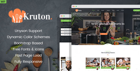 Kruton – Bakery and Cooking Classes WordPress Theme