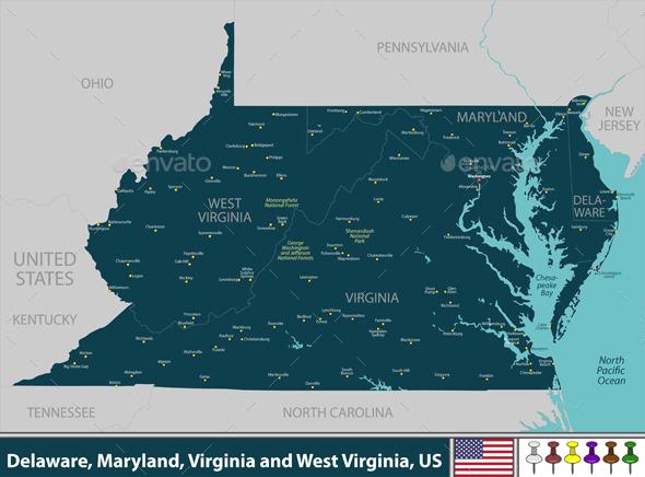Delaware Maryland Virginia and West Virginia US