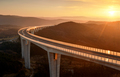 Cars driving on a highway viaduct at sunset - PhotoDune Item for Sale