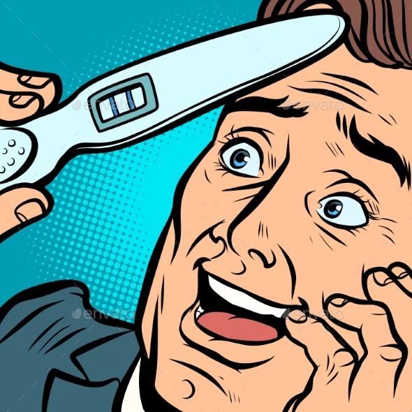 Pregnancy Test Joyful Man Husband Father