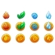 Four Elements Nature Icons - GraphicRiver Item for Sale