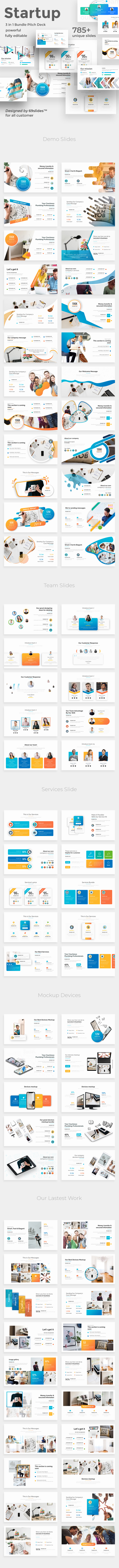 Startup Ideas 3 in 1 Pitch Deck Bundle Powerpoint Template