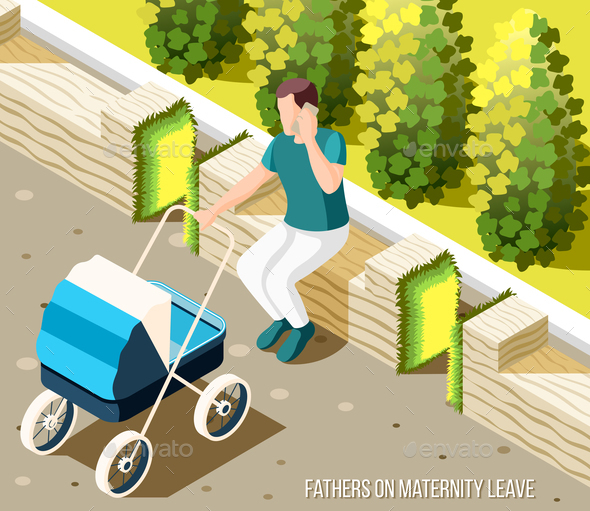 Fathers On Maternity Leave Isometric Background