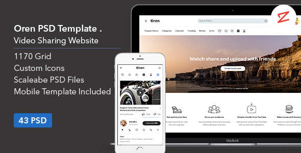 Oren: Video Sharing Website PSD Template