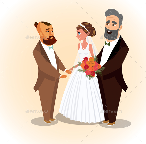 Happy Groom, Bride and Father Vector Illustration
