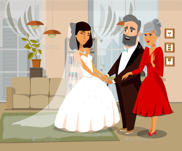 Bride with Parents Cartoon Vector Illustration
