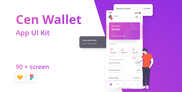 Cen - Bank and Wallet Mobile UI Kit for Finance