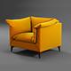 Leather orange armchair - 3DOcean Item for Sale
