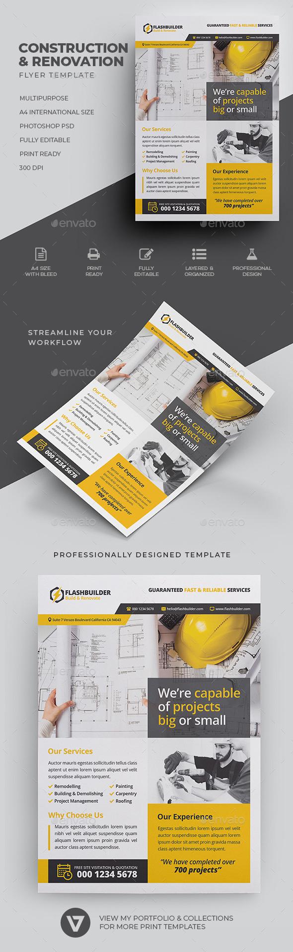 Construction Flyer Graphics Designs Templates