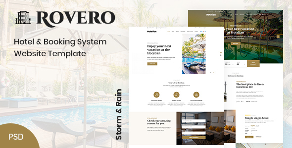 Rovero - Hotel & Booking Service Website PSD Template