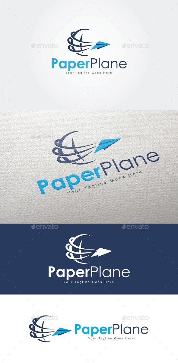 Paper Plane Globe Logo