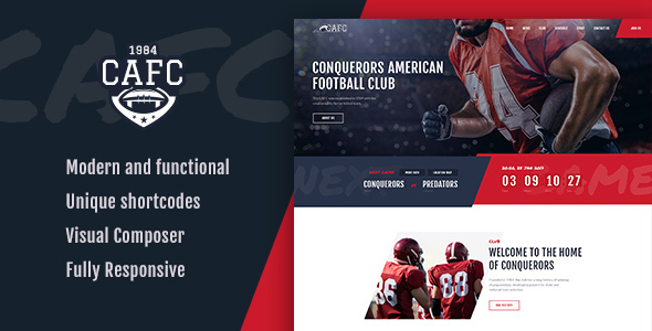 Conquerors | American Football & NFL Team WordPress Theme