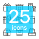 25 Thin Vector Box Icons with Ribbons for Website and Mobile Design - GraphicRiver Item for Sale