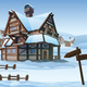 Horizontal Seamless Background of Winter Village - GraphicRiver Item for Sale