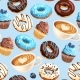 Vector Seamless Pattern with Coffee and Donuts - GraphicRiver Item for Sale