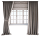 Two-tone beige-brown curtains in the floor straight and with a pickup, roman curtains and a window - 3DOcean Item for Sale