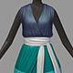 Women summer long green striped dress white high heel shoes - 3DOcean Item for Sale