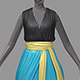Women summer long skyblue dress white high heel shoes - 3DOcean Item for Sale