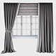 Grey curtains straight to the floor and catch it, a Roman blind with a quatrefoil pattern and the wi - 3DOcean Item for Sale