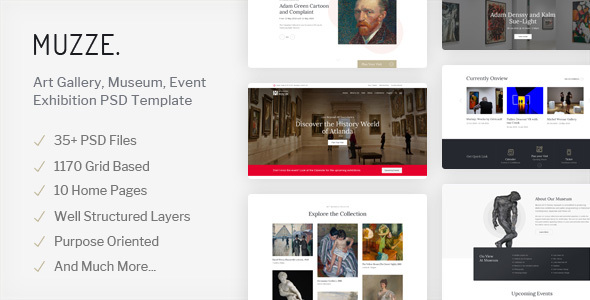 Muzze - Museum & Art Gallery Exhibition PSD Template