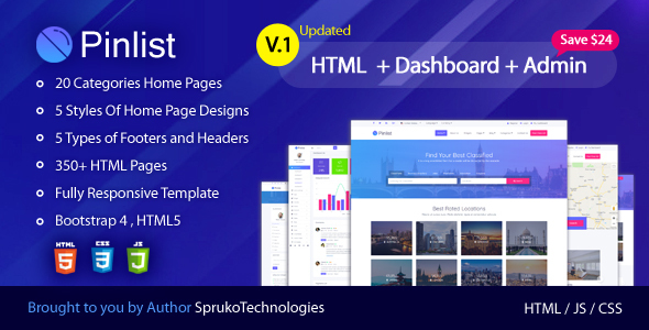 Pinlist - Directory, Classifieds and Jobs Multipurpose Bootstrap4 HTML5 Listing Template