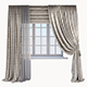 Classic beige curtain with a Damasc pattern, a Roman blind and window - 3DOcean Item for Sale