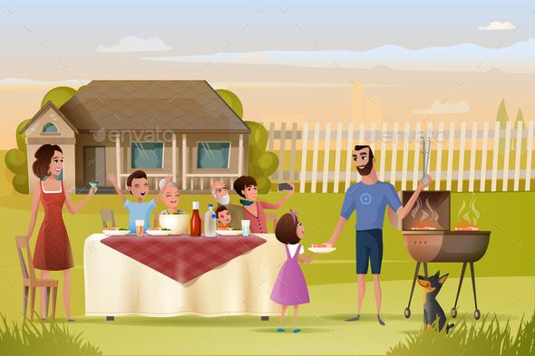Big Family Holiday Dinner or Picnic Cartoon Vector