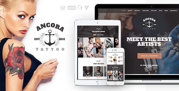 Ancora | An Urban Tattoo Salon and Ink Shop WordPress Theme