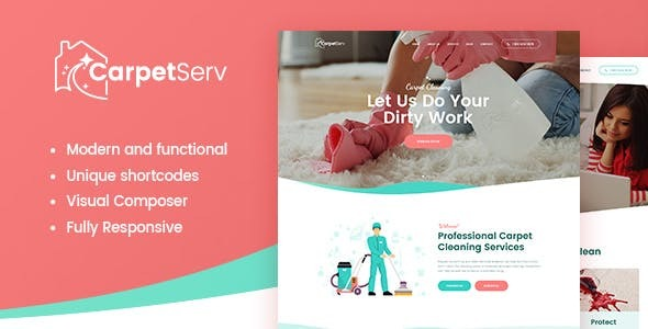 CarpetServ | Cleaning Company & Janitorial Services WordPress Theme