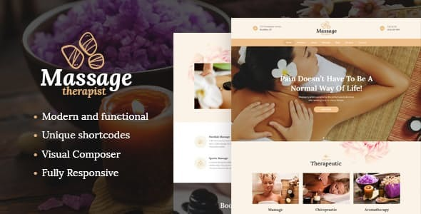 Massage Therapist and Spa Salon WordPress Theme