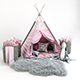 Decorative set for children -a teepee with a mattress, pillows, fur rug, baskets, a soft toy har - 3DOcean Item for Sale