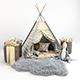 Decorative set for children -a teepee with a mattress, pillows, fur rug, baskets, a soft toy hare - 3DOcean Item for Sale