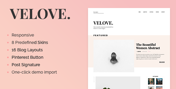 Velove - A Responsive Feminine WordPress Blog Theme
