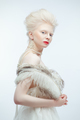 beautiful albino girl with red lips on white background - PhotoDune Item for Sale
