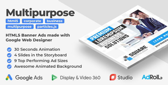 Square - Multipurpose Business Animated Banner Ad Templates (GWD)