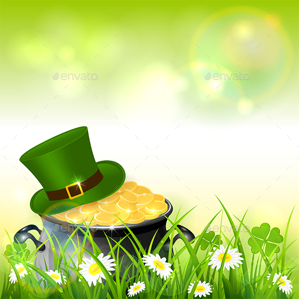Patrick Day Green Nature Background with Gold and Hat