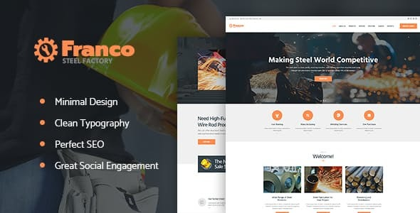Franco | Steel Factory & Industrial Plant Manufactoring WordPress Theme
