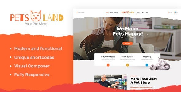 PetsLand | Domestic Animals Shop & Veterinary WordPress Theme