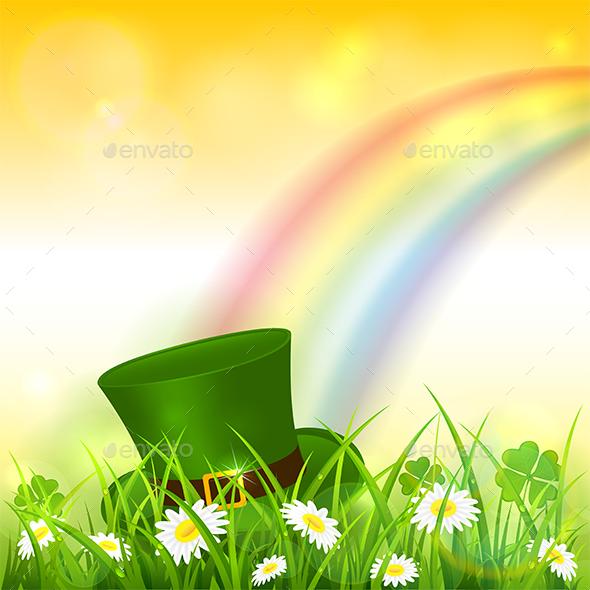 Patrick Day Rainbow on Yellow Nature Background